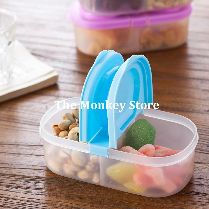 2 Grid Kitchen Storage Boxes Bins Plastic Box Glossy Candy Jars Sealed Food  Containers Organizers Cajas Boite De Rangement F1804 In Storage Boxes U0026 Bins  ...