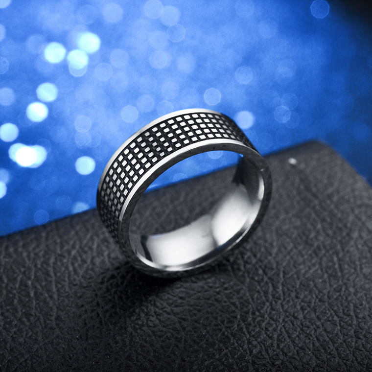 KNOCK Vintage hollow out silver 316L stainless steel Ring Punk Rock Chain for Men Men title=