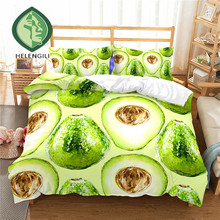 HELENGILI 3D Bedding Set Fruit Avocado Print Duvet Cover Set Lifelike Bedclothes with Pillowcase Bed Set Home Textiles #NYG-05 avocado print pillowcase
