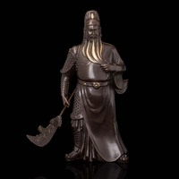Arts Crafts Copper Ancient Chinese Bronze GuanYu Statue Bronze Sculpture 11.4'' Warrior GuanGong Fortune fengshui Chinese God Ar