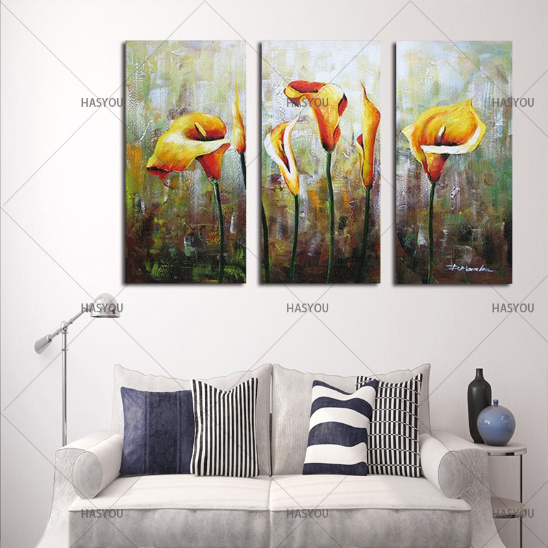 Hand-Painted-3pcs-Modular-Calla-Lily-Flower-Picture-Oil-Painting-On-Canvas-Wall-Art-Gift-Living (2)