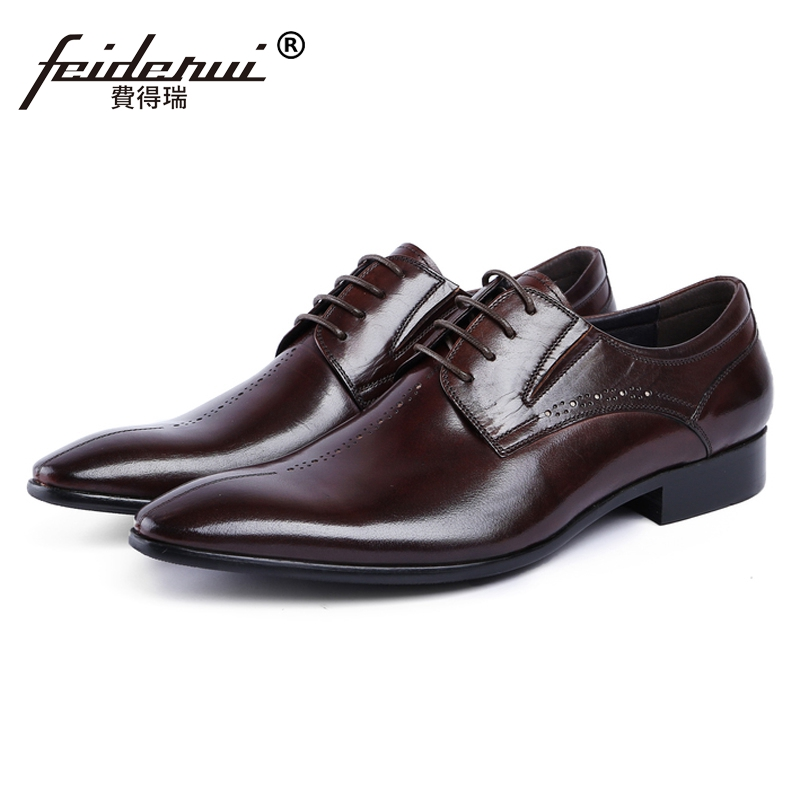 New Arrival Italian Designer Man Carved Handmade Party Shoes Genuine Leather Pointed Toe Men's Wedding Dress Derby Footwear JS28 new italian designer men s wedding party footwear genuine leather pointed toe lace up derby man luxury formal dress shoes ymx504