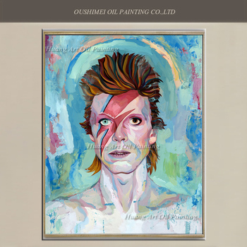 Top Artist Hand Painted High Quality David Bowie Portraits Oil Painting Wall Painting Blue Paintings Home Decor Character Art