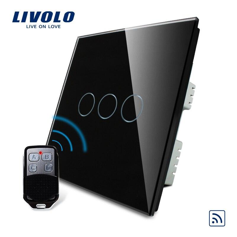Livolo Interruptor de Casa Inteligente, Black Pearl Painel de Vidro Cristal, REINO UNIDO Interruptor de Controle remoto & Controle Remoto, AC 220-250 V VL-C303R-62 & VL-RMT-02,
