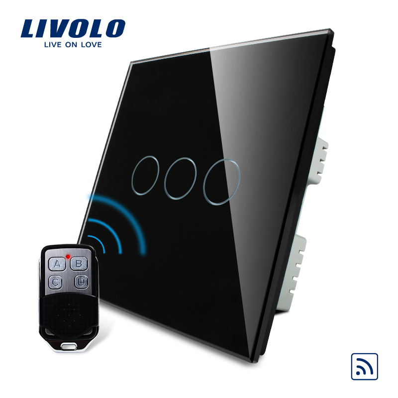Livolo Smart Home Switch,  Black Pearl Crystal Glass Panel, Remote Control UK Switch & Remote,AC 220-250V VL-C303R-62&VL-RMT-02, smart home us black 1 gang touch switch screen wireless remote control wall light touch switch control with crystal glass panel