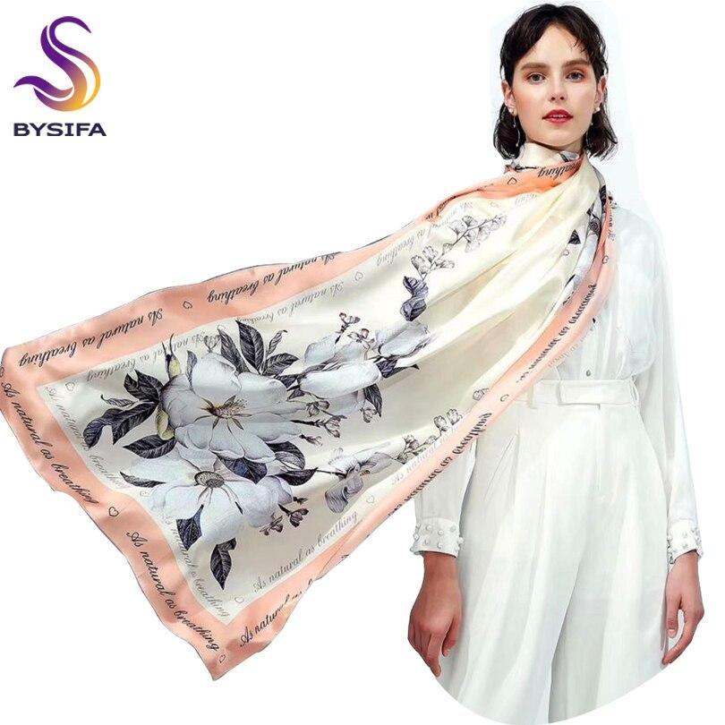 [BYSIFA] Brand Ladies Silk   Scarf   Shawl 2018 Fashion Elegant Lilac Flower Long   Scarves     Wraps   Winter Beige Muslim Head Neck   Scarf