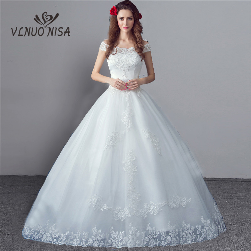 Wedding Dress The Bride Off the Shoulder Elegant Boat Neck Sweet Stereo Flowers Ball Gown Princess Bridal Gown Vestido De Noiva