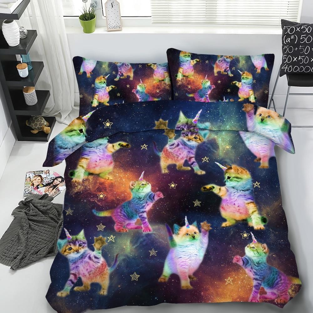 HD digitale 3 pz Per Set Galaxy Unicorno gatti toccare le stelle 3d set di biancheria da letto