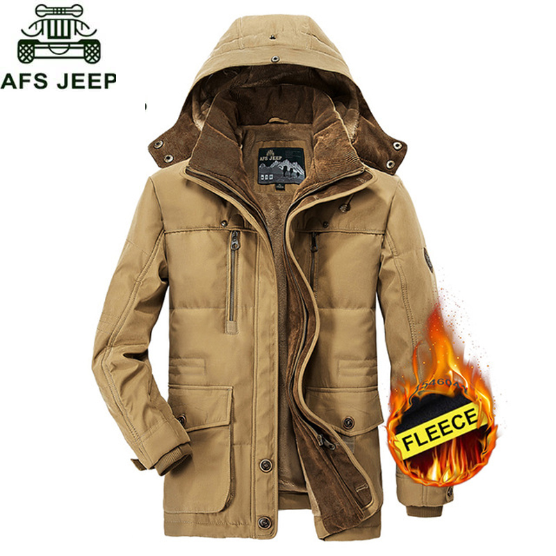 AFS JEEP Winter Thicken Warm Hooded   Parka   men Plus Size M-5XL Army Military Fleece Jacket men Hooded Collar Mens Down Jackets