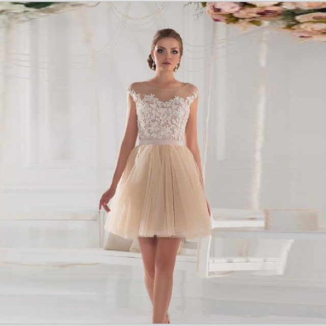Short Champagne Tulle Homecoming Dresses 2016 Cheap Cap Sleeves A-Line  Appliques Formal Party Cocktail 060f2e802