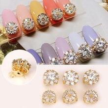 New 5pcs round zircon rotatable nail art jewelry decoration metal luxury diamond professional charm