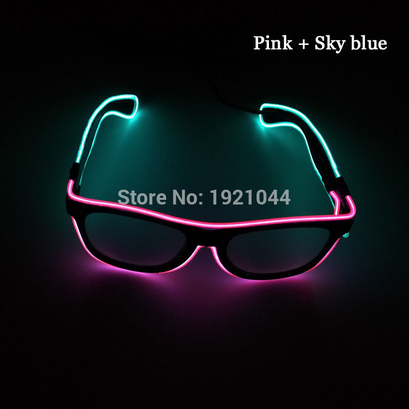 New design Sound Activated Double color Glasses EL Wire Powered By DC-3V Cold Light Tube Rope Flexible Neon Discos Party Decor
