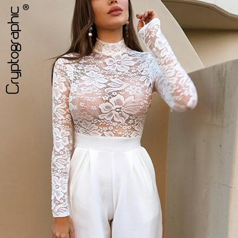 Cryptographic mesh transparent lace long sleeve bodysuit sexy turtleneck   jumpsuit   women button see through bodysuits slim tops