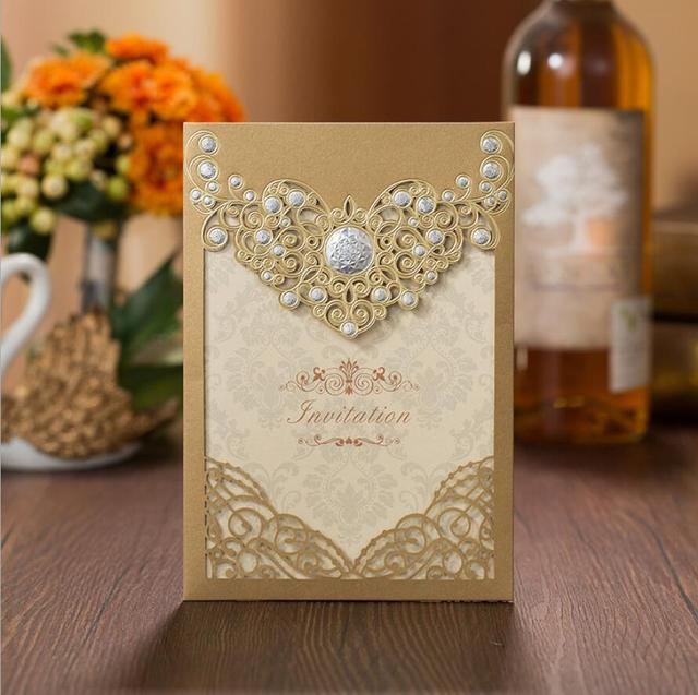100pcs Lot Gold Laser Cut Wedding Invitations Cardstock With Silver