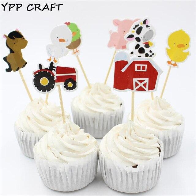 YPP ARTISANAT Ferme Animal Partie Cupcake Toppers Picks Décoration Pour  Enfants Fête Du0027anniversaire Favorise