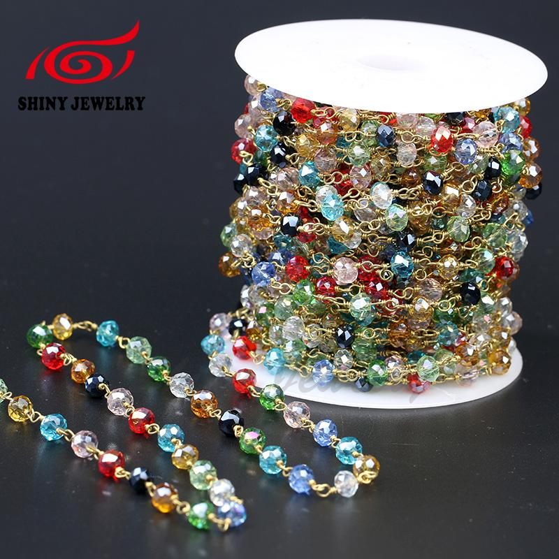 5Meter Antique Rainbow Crystal Rosary Style Beaded Chain,Wire Wrapped Beaded Chain Rosary chain Colorful Faceted Crystal Beads