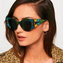 Moda Imitação de madeira Óculos De Sol Das Mulheres Gato Olho Óculos De Sol  Da Marca 23fe014672
