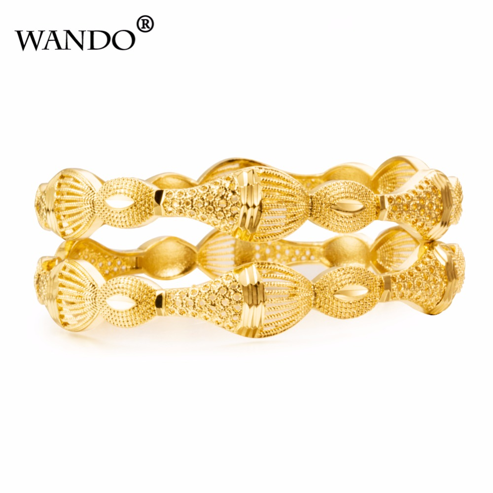 WANDO18k 1pcs Luxury Ethiopian Bangles Gold Color Dubai Bangle for Women Gold Color Jewelry Wedding Bracelets gifts WB26