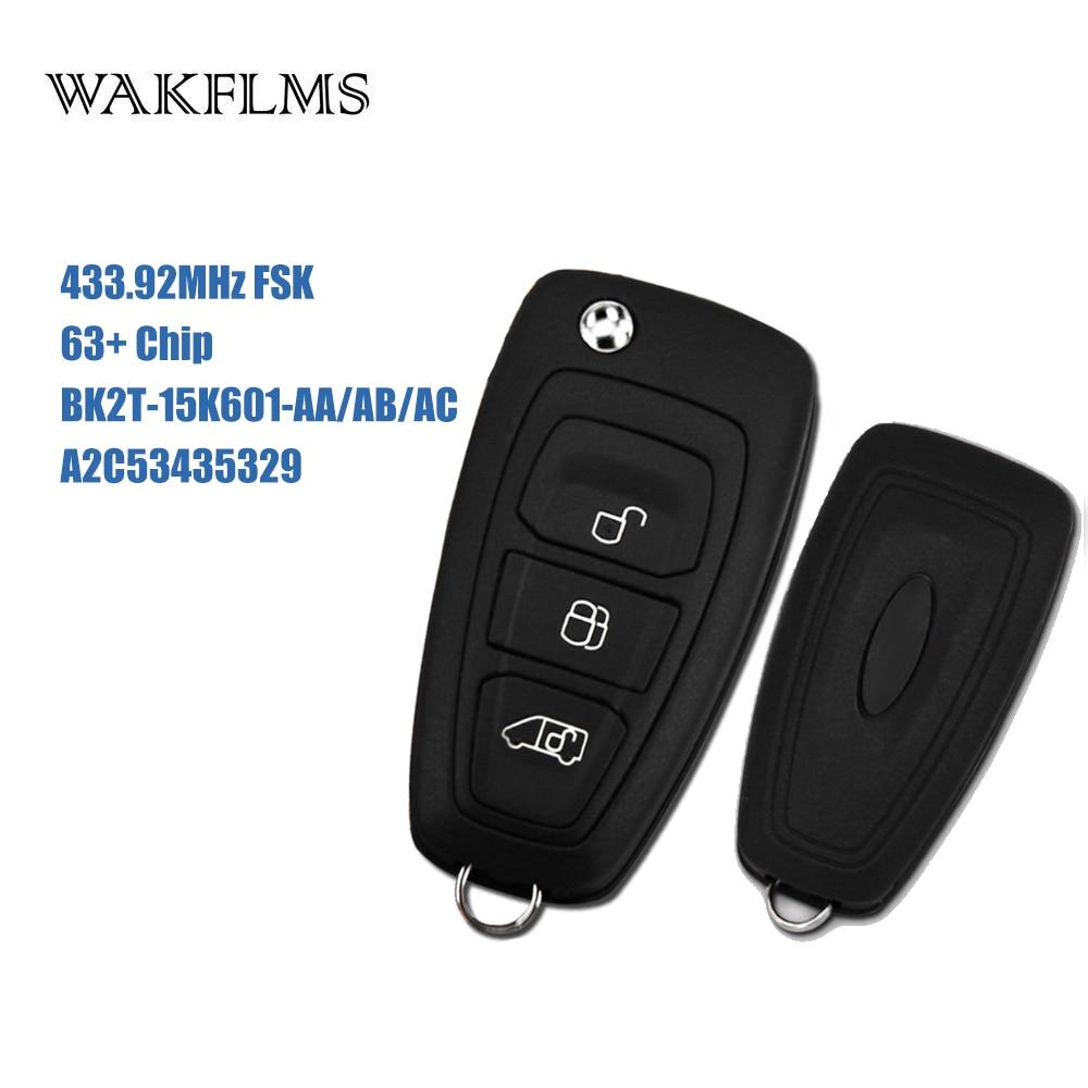 3btn Remote Flip Key fob 433 92MHz For Ford Transit Custom 2012 2013 2014 2015 2016