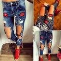 De Las Mujeres atractivas Ripped Flacos del Dril de algodón Pantalones de Cintura Alta Stretch Jeans Pantalones Lápiz Delgado