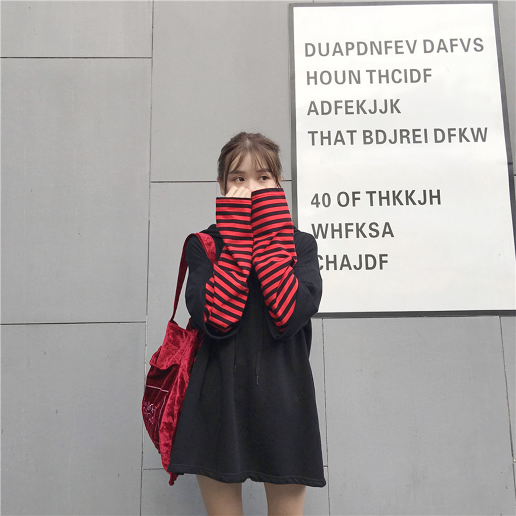 2019 Autumn Winter New Hot Women Fake Two Piece Stripe Patchwork Hoodie Letter Drawstring Hooded Top