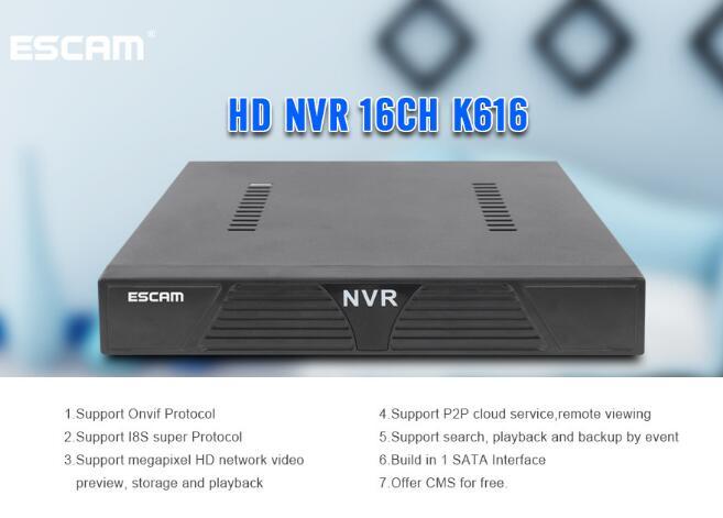 ESCAM 16CH 720/1080 P NVR Kiti K616ESCAM 16CH 720/1080 P NVR Kiti K616