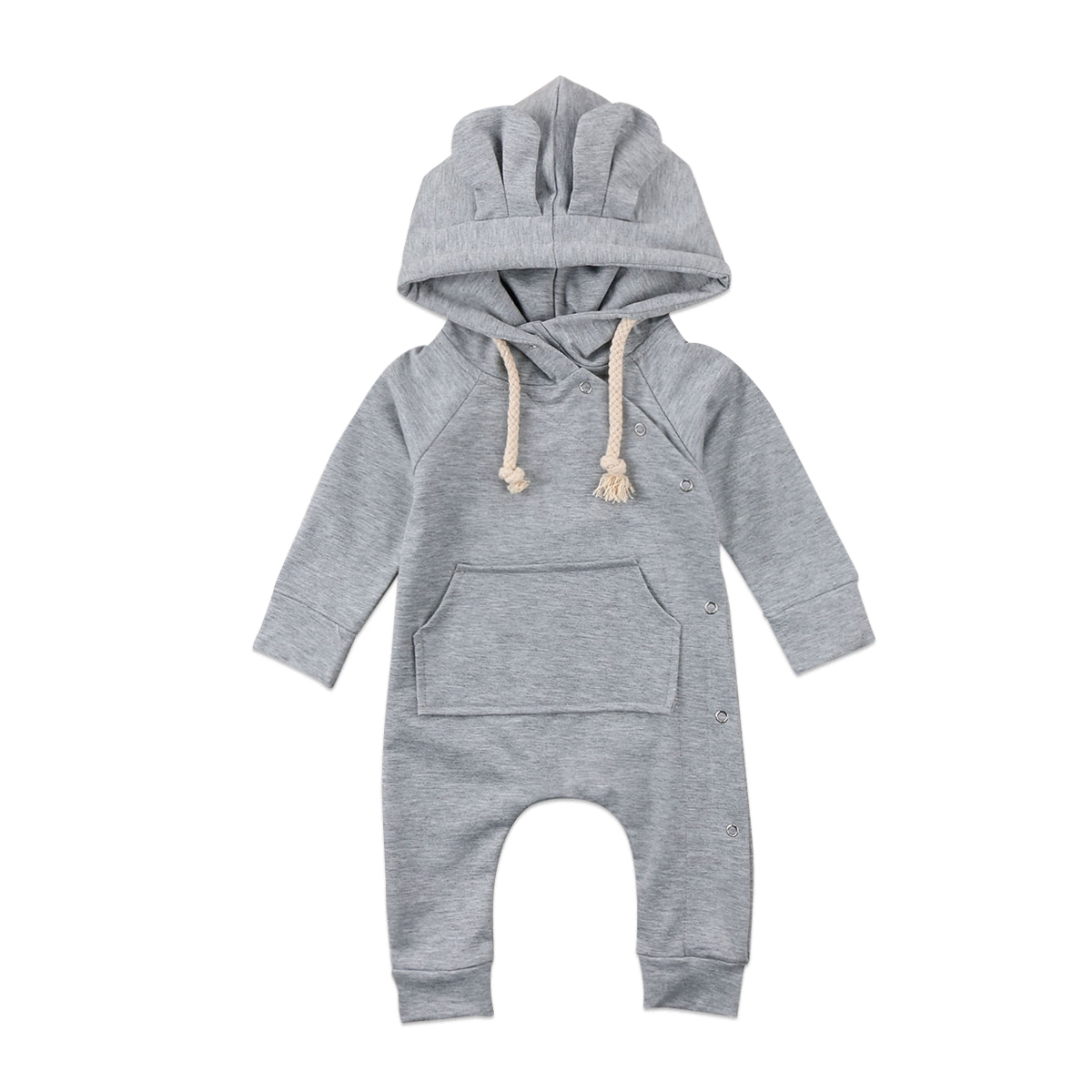 2018 New Year Baby Boy Girl Infant 3D Ear Hooded Long Sleeve Romper Solid Jumpsuit Cotton Clothes Outfits