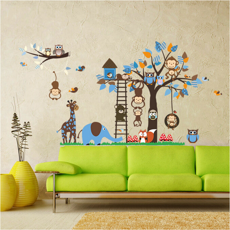 Large jungle animal tree kids wall stickers cute nursery wall decals baby bedroom wall pictures home decor wallpaper