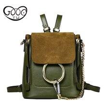 GOOG. YU Novo saco de couro genuíno pequeno Mulheres Mochila mochilas Mochila mulheres de luxo Famoso Designer Da Marca de Luxo Mochila