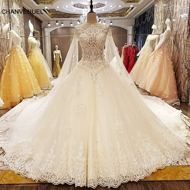 LS63889 trajes de novias 2018 nuevos ball gown transparent zipper back cap sleeves newest wedding dresses real photos
