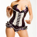 Free shipping !! Women new style front&back laced latex corset (without ruffle flower undershorts)