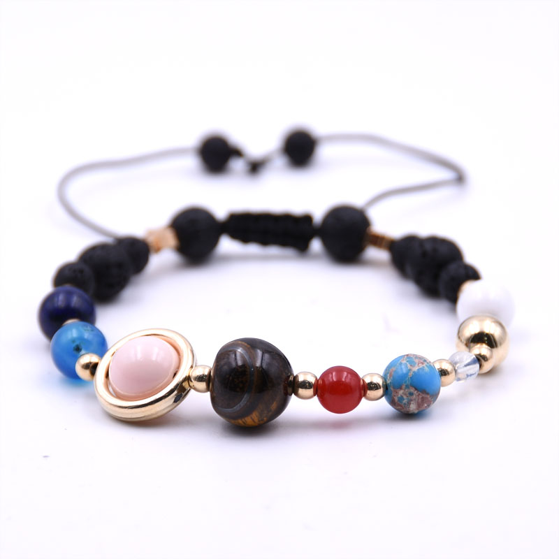 HONEYYIYI Natural Stone Bracelet Men Universe Galaxy the Eight Planets in the Solar System Guardian Star Bracelets for Women