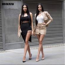 MUXU dress women vestidos de playa plus size  suspender backless moda feminina two piece set jurk summer ropa mujer