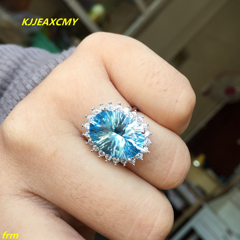 KJJEAXCMY Fine jewelry 925 sterling silver inlaid natural blue topaz ring female ladies ring support any identification kjjeaxcmy fine jewelry 925 sterling silver inlaid natural amethyst ring wholesale opening ladies adjustable support testing