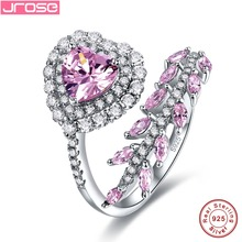 Jrose 2.14ct Fine Jewelry Women Heart Style Pink CZ 100% 925 Sterling Silver Ring Engagement Rings charms Ladies morning gifts