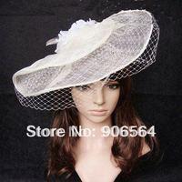 Gratis verzending groothandel en retail de mode nieuwe handgemaakte linnen en veils tovenaar hoeden witte kleur dames cocktail hoeden M19