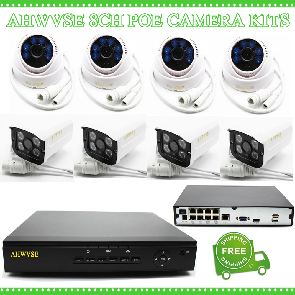 AHWVSE 8 CH POE NVR 1080P Video Surveillance Security CCTV System with 8pcs POE IP Cam 2MP Outdoor Indoor стоимость