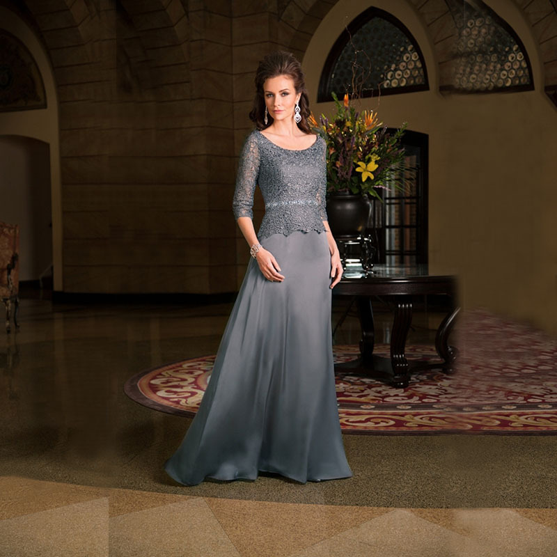 2019 Gray Half Sleeve Lace Mother of the bride dresses plus size A-Line O-Neck evening dresses Formal Dress Vestido mae da noiva