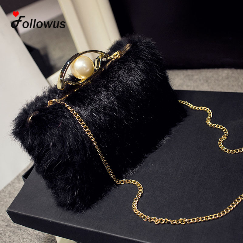 Faux Fur Chain New Women Shoulder Bags Winter Fashion Party Flap Messenger  Crossbody Bag Bolsa Feminina-in Shoulder Bags from Luggage   Bags on ... ebe4775e10388