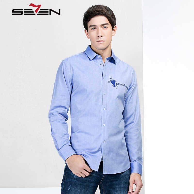 Seven7 marka mężczyźni Shirt na co dzień z długim rękawem mężczyzna drukowane ptaki formalne koszule dla mężczyzn ubrania 2019 moda 100% bawełna
