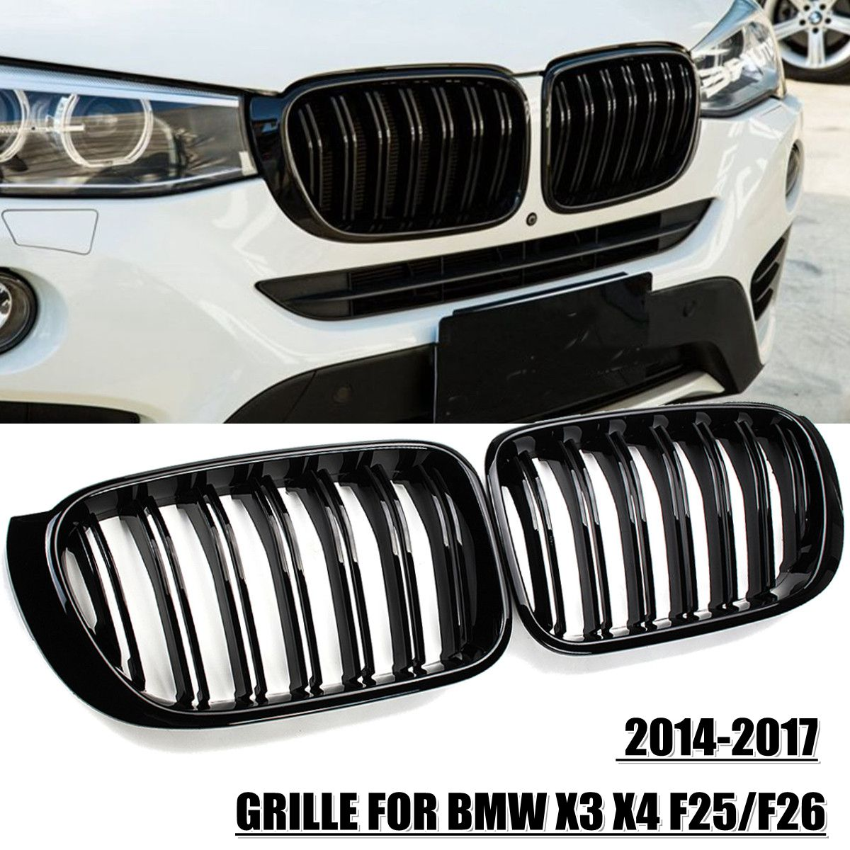 2Pcs M Style Car Front Grille Grill Mesh Net Trim Strip Cover Gloss Black For BMW X3 X4 F25/F26 2014 2015 2016 2017