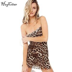 Image 3 - Hugcitar Vestido corto de malla transparente con estampado de leopardo para mujer, vestido sexy con tirantes finos, ropa de fiesta de Navidad 2019