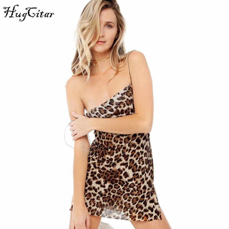 Hugcitar corte malla ver a través de leopardo estampado espagueti correas sexy mini slip dress2019 verano mujeres ropa de fiesta de navidad