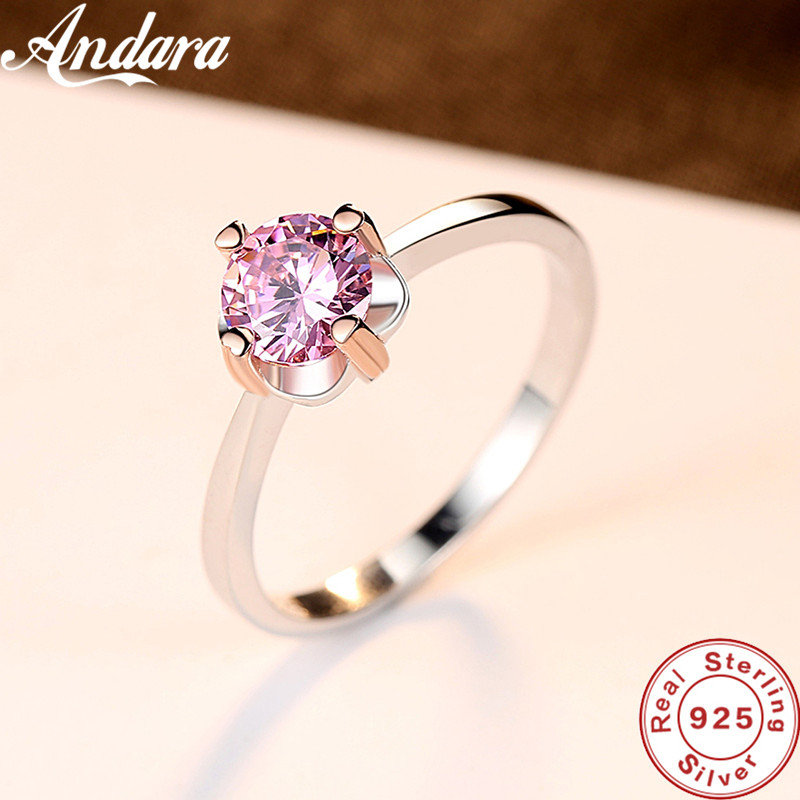 Romantic Eternal Heart Pink <font><b>Crystal</b></font> Ring Women Bagues Jewelry 925 Silver Ring image