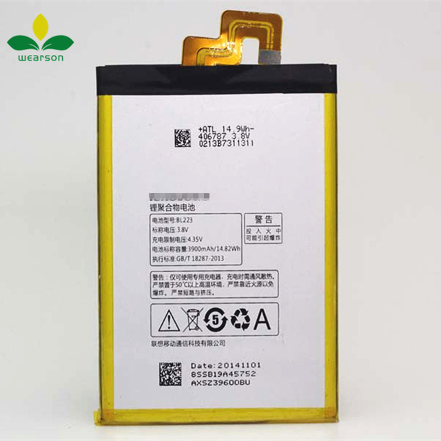 Wearson BL223 Battery For Lenovo K920 Vibe Z2 pro Battery 3900mAh Free Shipping With Tracking Number