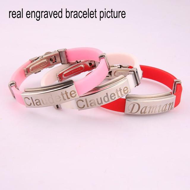 Valentine Stainless Steel Bracelets For Women Rubber ID Bracelet Men Bracelet Jewelry Couple Bracelets Bangles Customized Logo