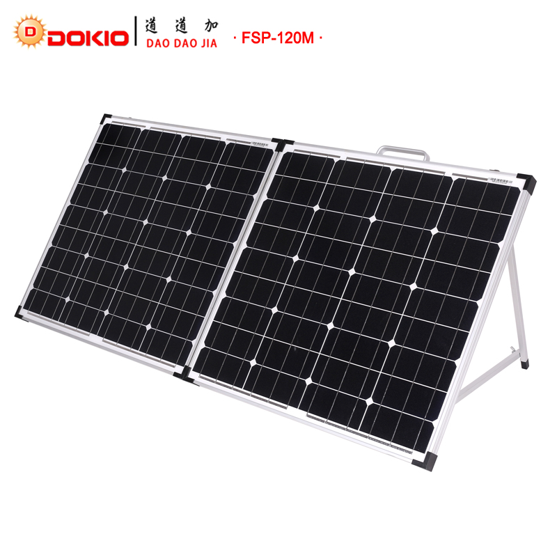 Dokio Brand 120W(2Pcs x 60W) Foldable Solar Panel China 18V+10A 12V/24V Controller Panels Solar Easy to Carry Cell/System Chargr