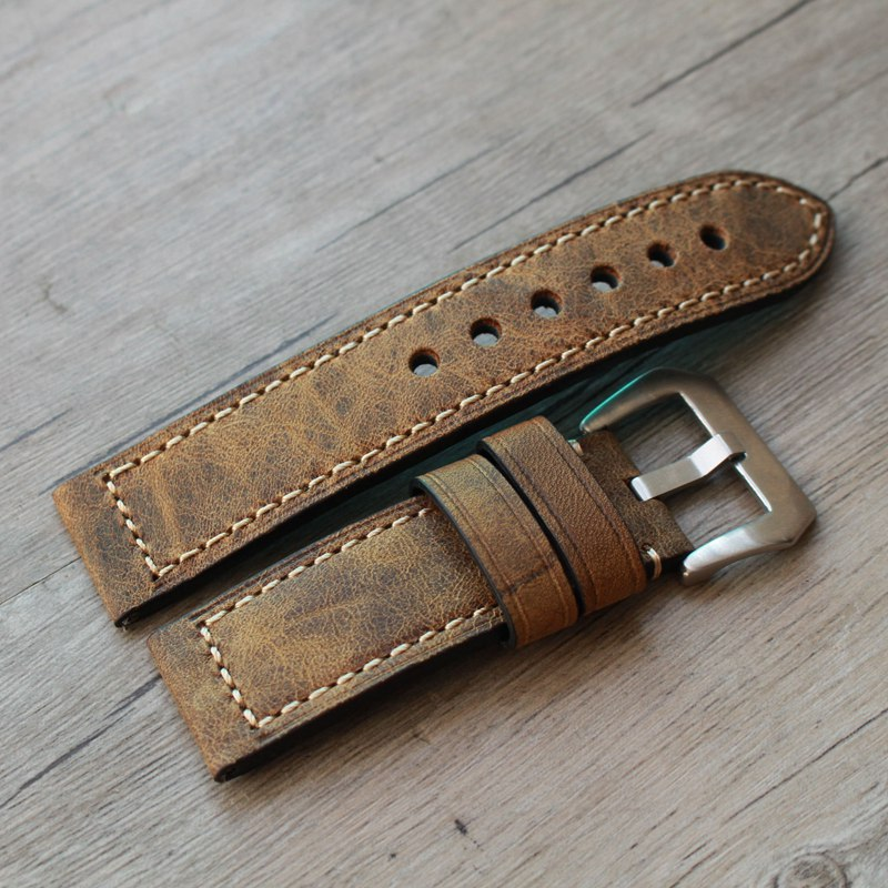 20mm 22mm 24mm Handmade high quality Straps Vintage Leather Strap <font><b>Bracelet</b></font>, Retro watchband For <font><b>Pam</b></font> And Big Watch branded watch image