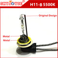 2 X auto luz externa H11-B H11-B xenon hid lámpara de xenón con base metálica H11B hid lámpara hid AC 35 W blanco de metal en forma de L doblada H11 socket