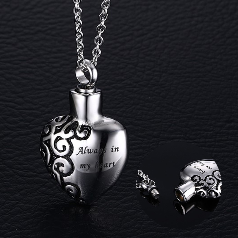 "Men Woman Stainless Steel "" Always in my Heart"" Ash Pendant Locket Necklace, Openable, with 19″ Chain"